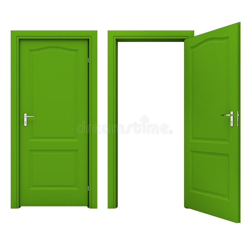 Open green door isolated on a white background stock illustration