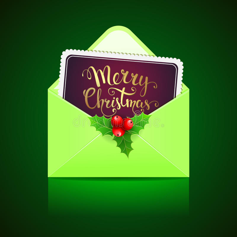 Open green envelope and card with handwritten text royalty free illustration