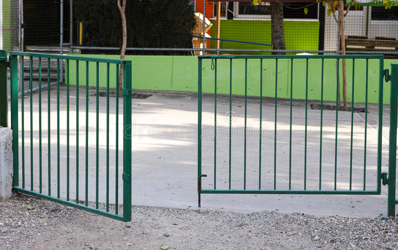 Open green gate royalty free stock photography