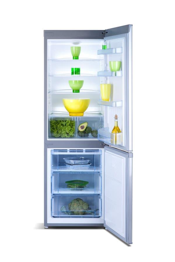 Open grey refrigerator. Fridge freezer stock photography