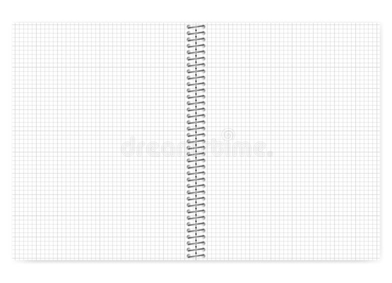 Open grid lined wire bound notebook with metal spiral, vector mo. Ck up. Loose leaf notepad spread isolated on white background, template royalty free illustration