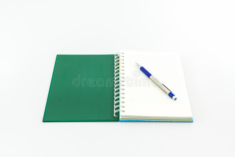 Open groen boek met pen royalty-vrije stock foto's