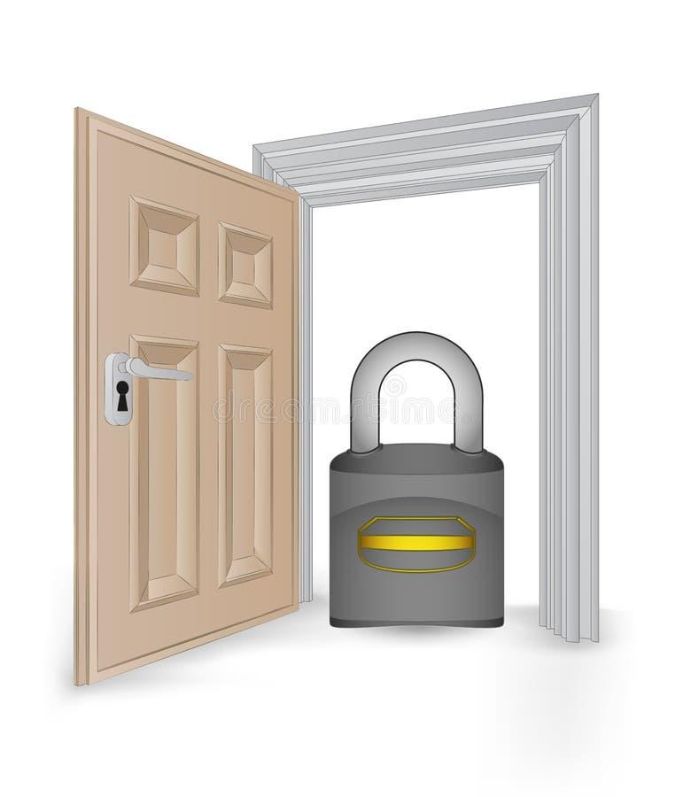 Open ha isolato la struttura della entrata con il vettore del lucchetto di sicurezza illustrazione vettoriale