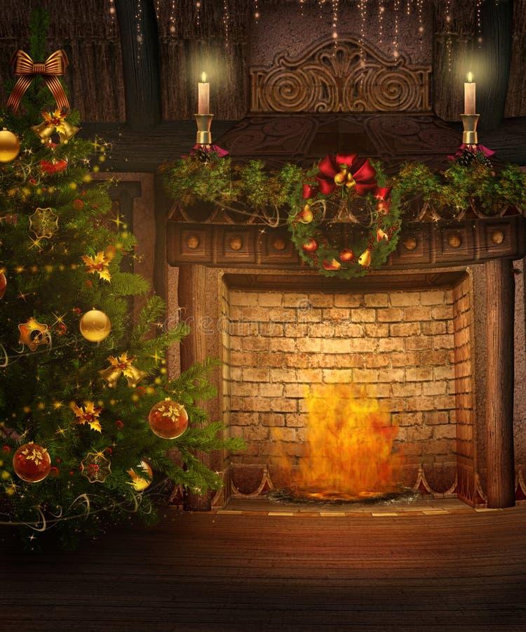 Open haard 1 van Kerstmis stock illustratie