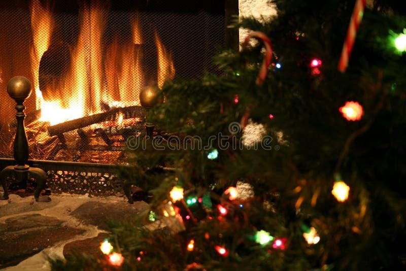 Open haard & Kerstboom royalty-vrije stock foto