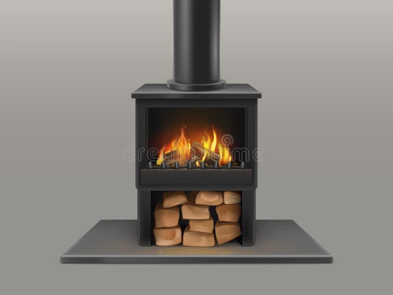 Open haard met het branden van brandhout binnen vector royalty-vrije illustratie