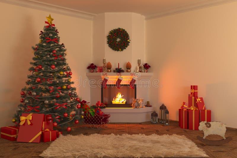 Open haard 1 van Kerstmis royalty-vrije illustratie