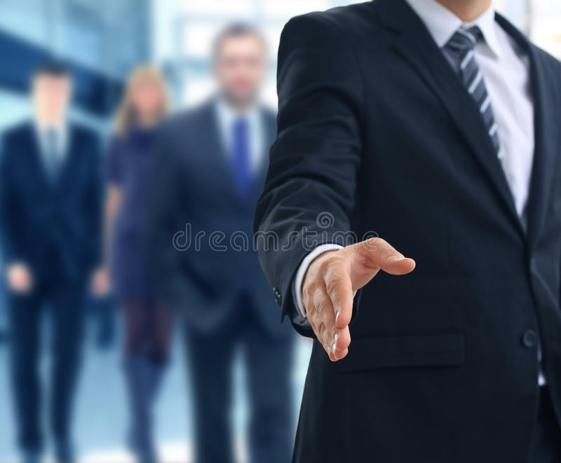Open hand. A business man with an open hand ready to seal a deal stock images