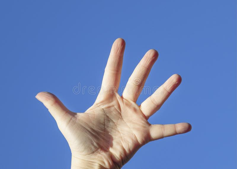 Open hand in the blue sky stock image
