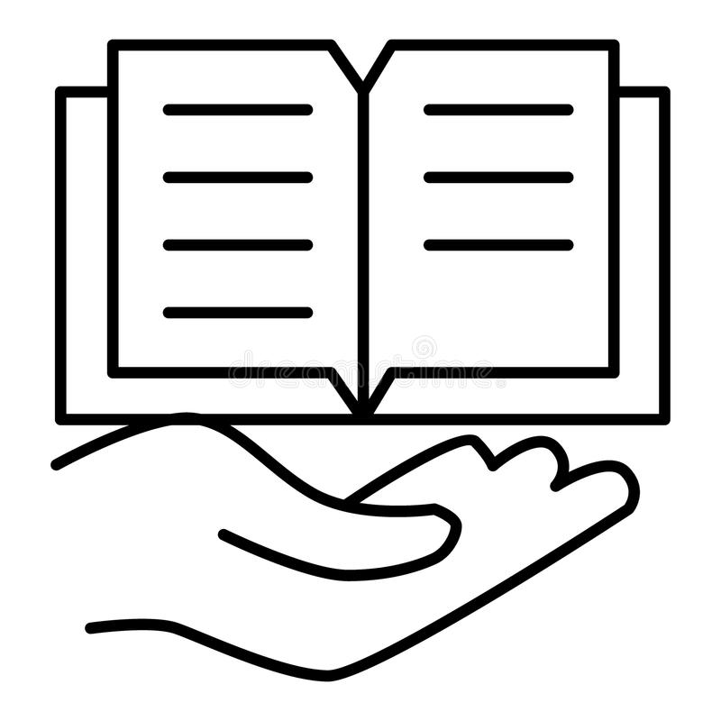 Open hand with book linear icon. Library. Thin line illustration. Contour symbol. Book on a palm vector icon. Outline stock illustration