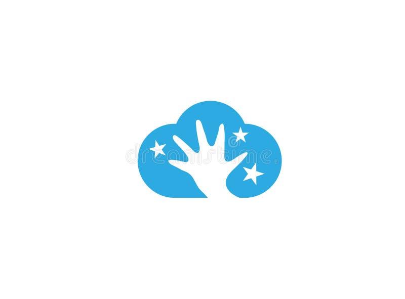 Open hand en sterren binnen de wolk voor embleemontwerp royalty-vrije illustratie