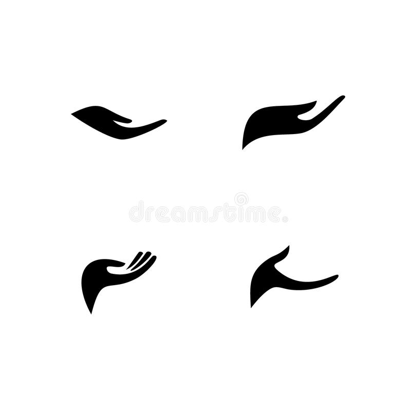 Open hand icon, silhouette graphic design. royalty free illustration