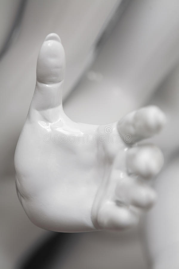 Open hand of a mannequin stock photos