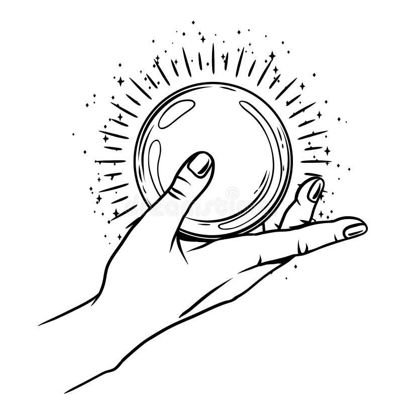 Open hand met magische bal stock illustratie