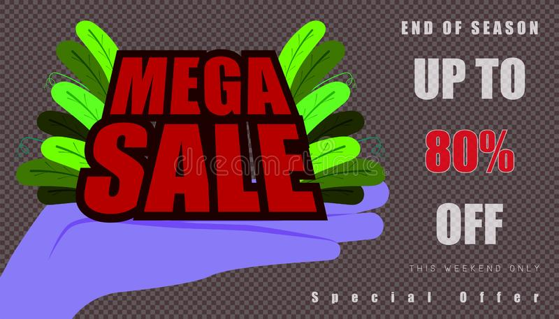 Open the hand for show mega sale and leaf. up to 80% end of year special offer word character. vector illustration eps10 stock illustration