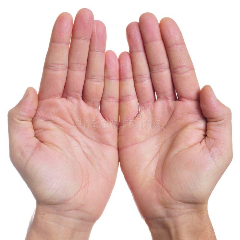 Open handen van een mens stock afbeelding
