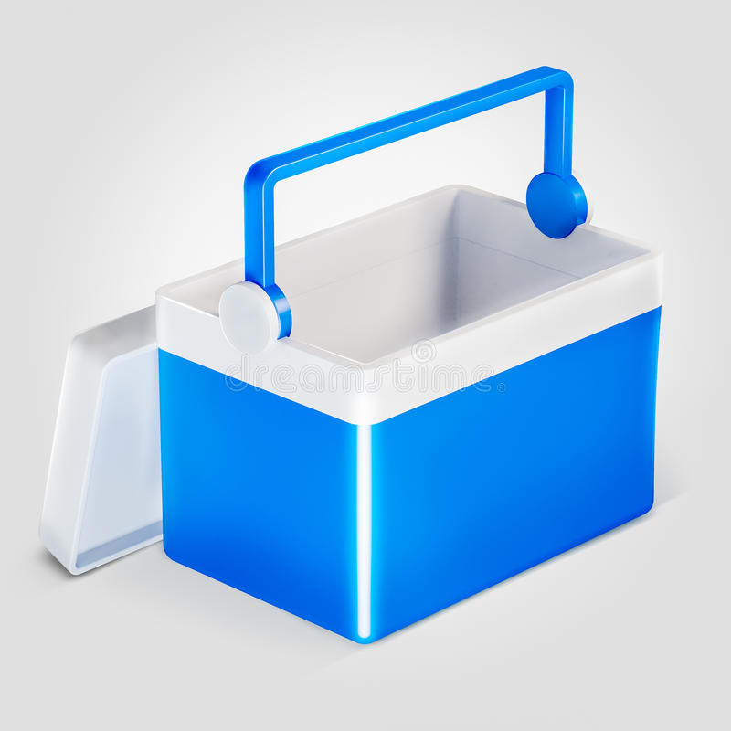 Open handheld blue refrigerator isolated over white background. Open handheld blue refrigerator isolated over white stock image