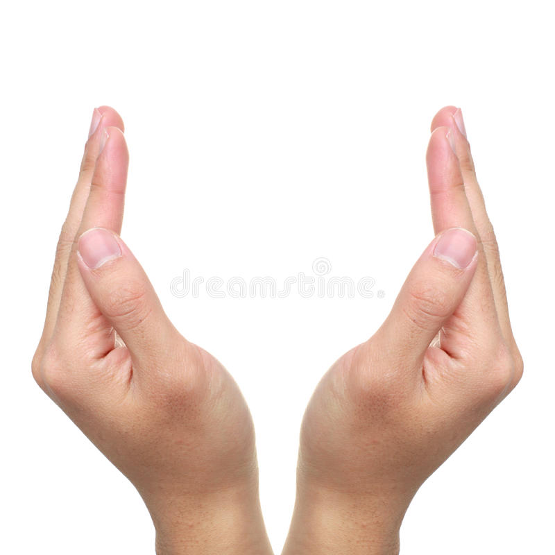Open Hands. Two open hands on white background isolated royalty free stock images