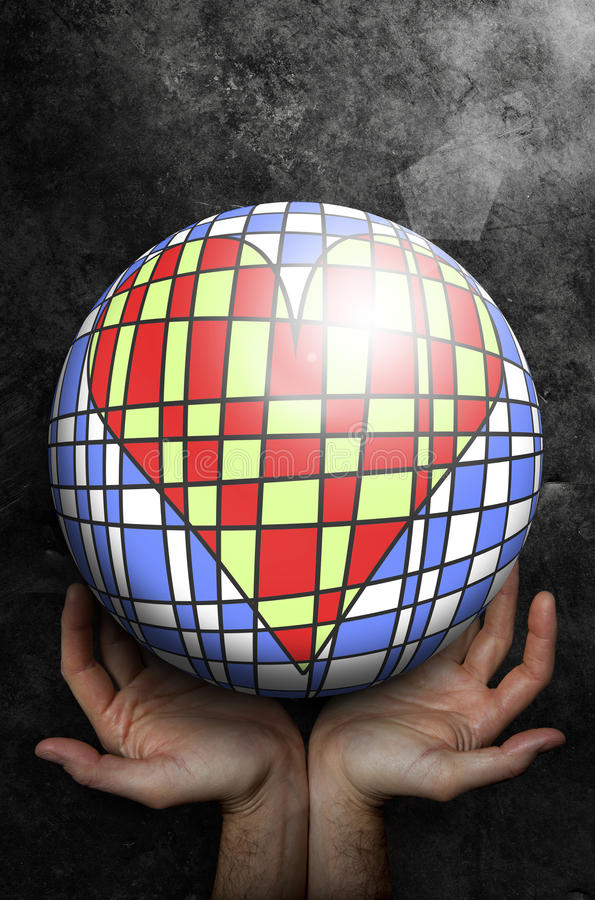 Open hands up receiving a world ball with inside an artistic heart. Grunge background. stock illustration