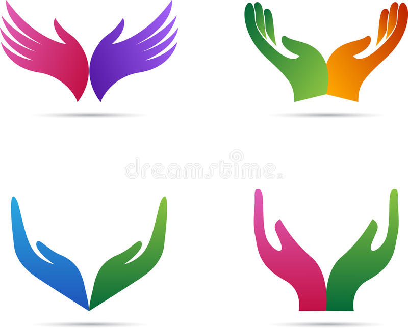Open hands. A vector drawing represents open hands design stock illustration