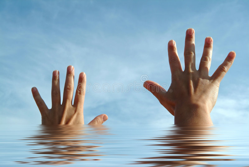Open hands on water and sky. Open hands on water and blue sky, help concept stock photos