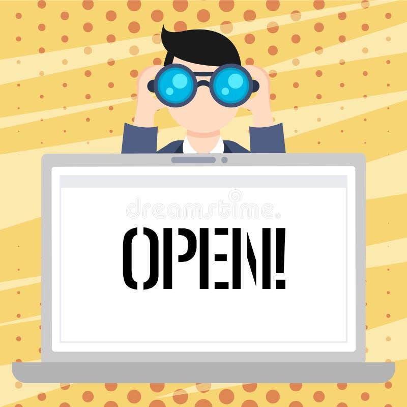 Open handschrifttekst De conceptenbetekenis staat dingen toe om door of voor direct gebruikstegendeel van gesloten Mensenholding  vector illustratie
