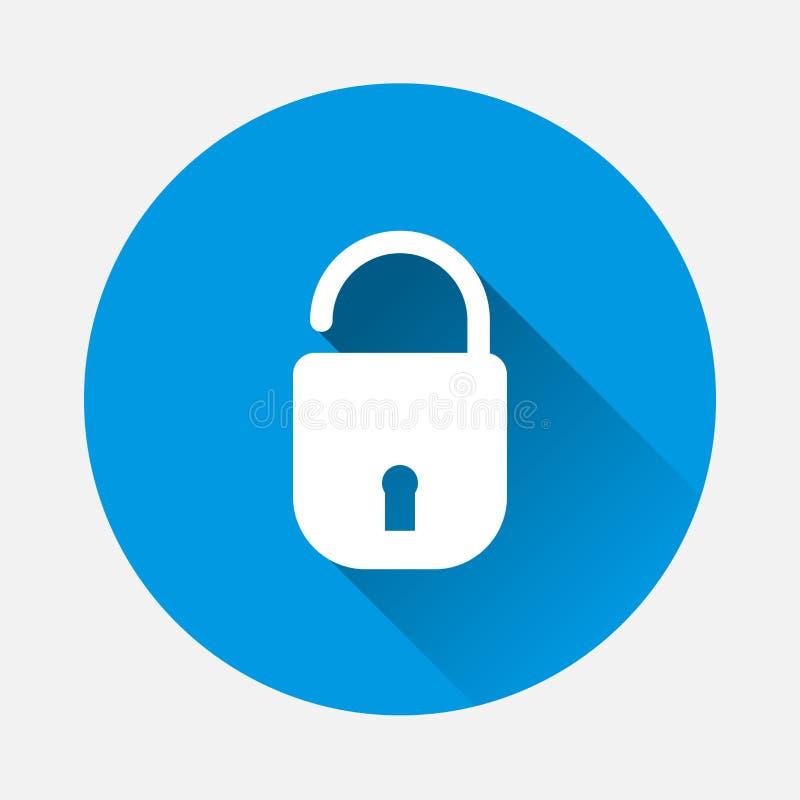 Open hangslot vectorpictogram Symbool van betrouwbaarheid, veiligheid met cl stock illustratie