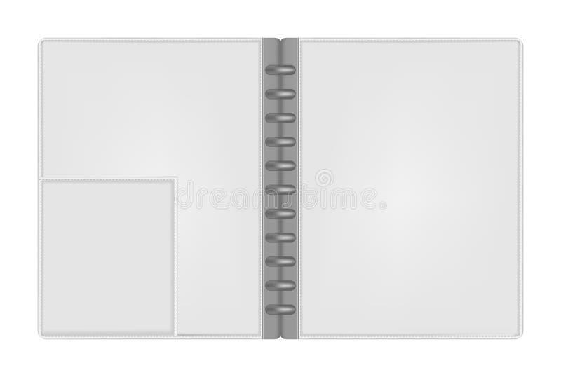 Open hard cover disc bound notebook folder with interior pocket. Open empty letter size discbound notebook folder with interior pocket top view, vector mock up vector illustration