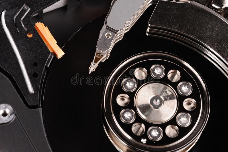 opened hard disk drive. Close Up picture stock image