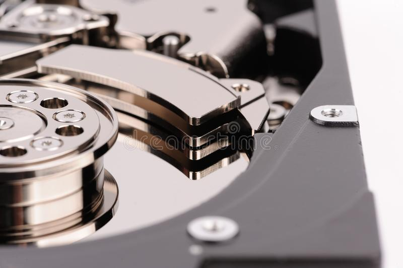 opened hard disk drive isolated on white background royalty free stock image