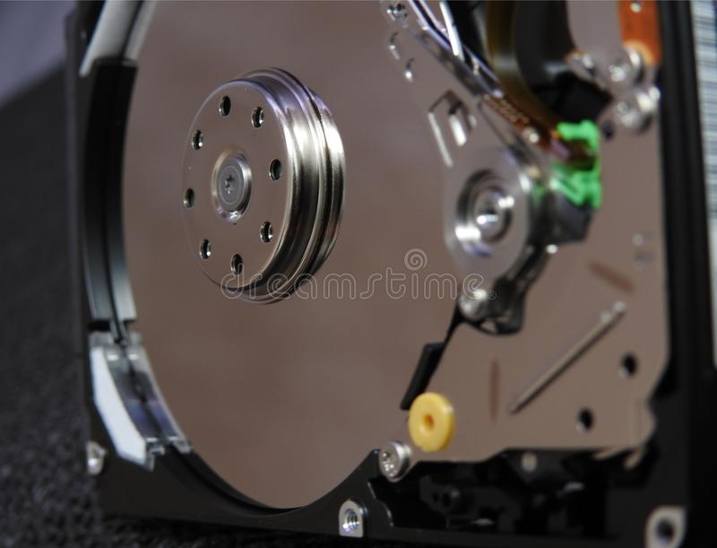Open hard drive. With close up of write read parts stock images