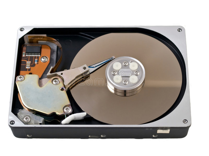 Open hard drive disk. Isolated on white royalty free stock image