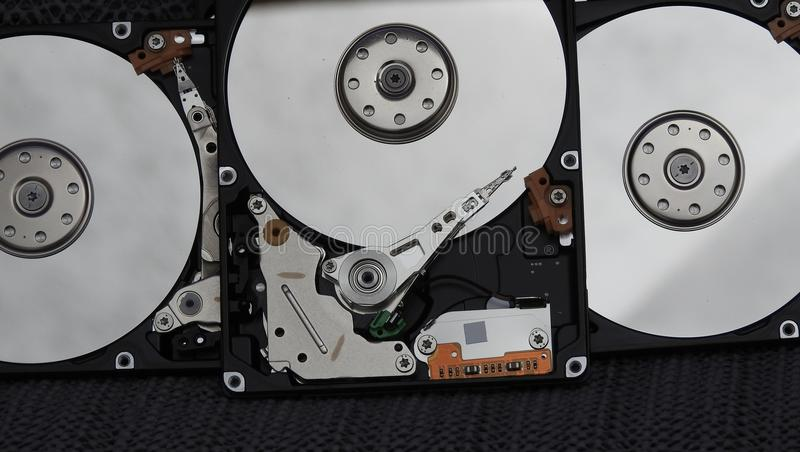 Open hard drives stock photography