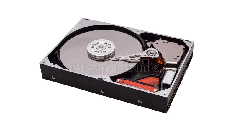 Open hard drives. Visible needle and plates. royalty free stock photography