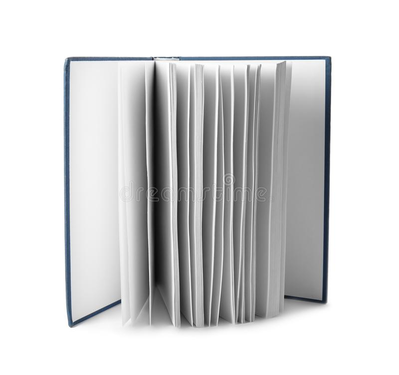 Open hardcover book with blank pages on background. Open hardcover book with blank pages on white background royalty free stock photography