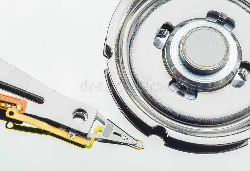 Open Harddisk cover and hard drives - hard disk drive is the storage of digital information in the computer. royalty free stock photo