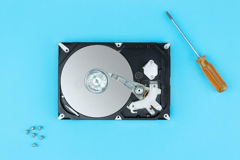Open harde schijfaandrijving, Harde schijf en hulpmiddelen royalty-vrije stock foto's