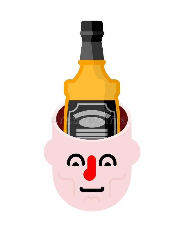 Open head and bottle of whiskey. Alcohol in head. Alcoholic Brain stock illustration