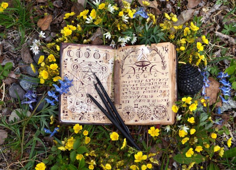 Open heksenboek met mysticussymbolen, zwarte kaarsen in bloemen royalty-vrije stock foto's