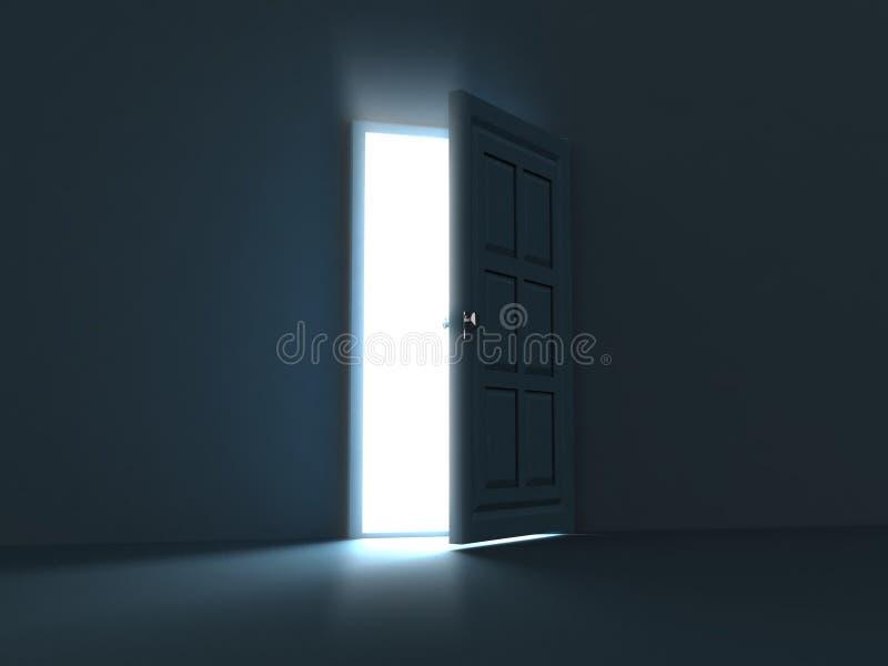 Open heldere deur tegengesteld aan donkere muur vector illustratie