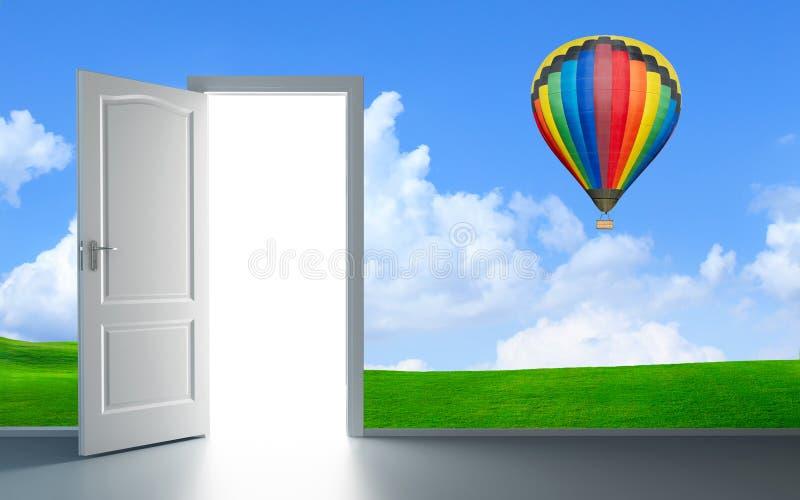 Open heldere deur tegengesteld aan donkere muur royalty-vrije illustratie