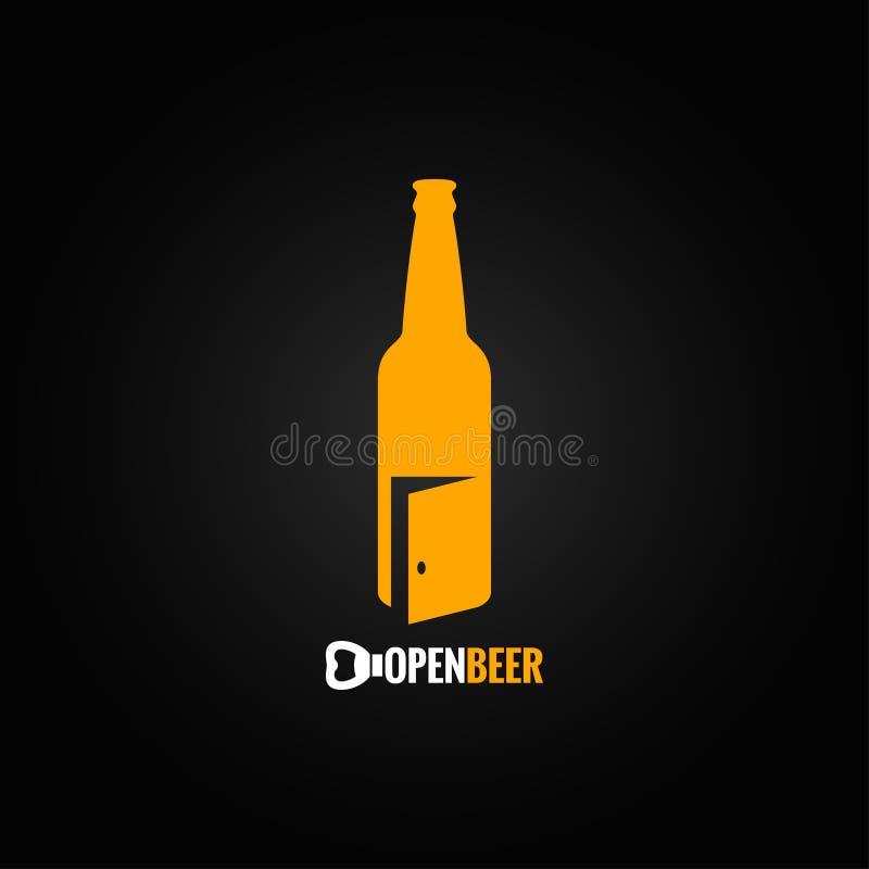 Open het conceptenachtergrond van de bierfles stock illustratie