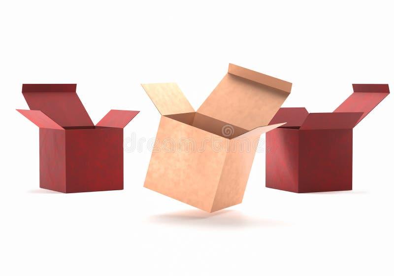 Open het kartonmodel van de gift gouden en rood doos Het open pakket van de de dooscontainer van het kartonkarton voor levering h stock foto's