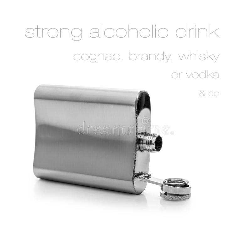 Open hip flask bottle of lying isolated royalty free stock photo
