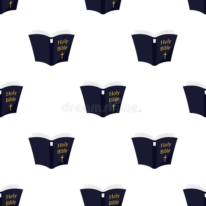 Open Holy Bible Flat Icon Seamless Pattern vector illustration