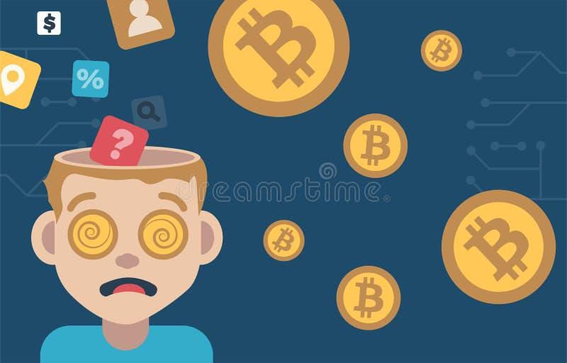 Open hoofdmens met dollarmuntstukken in zijn mening royalty-vrije illustratie