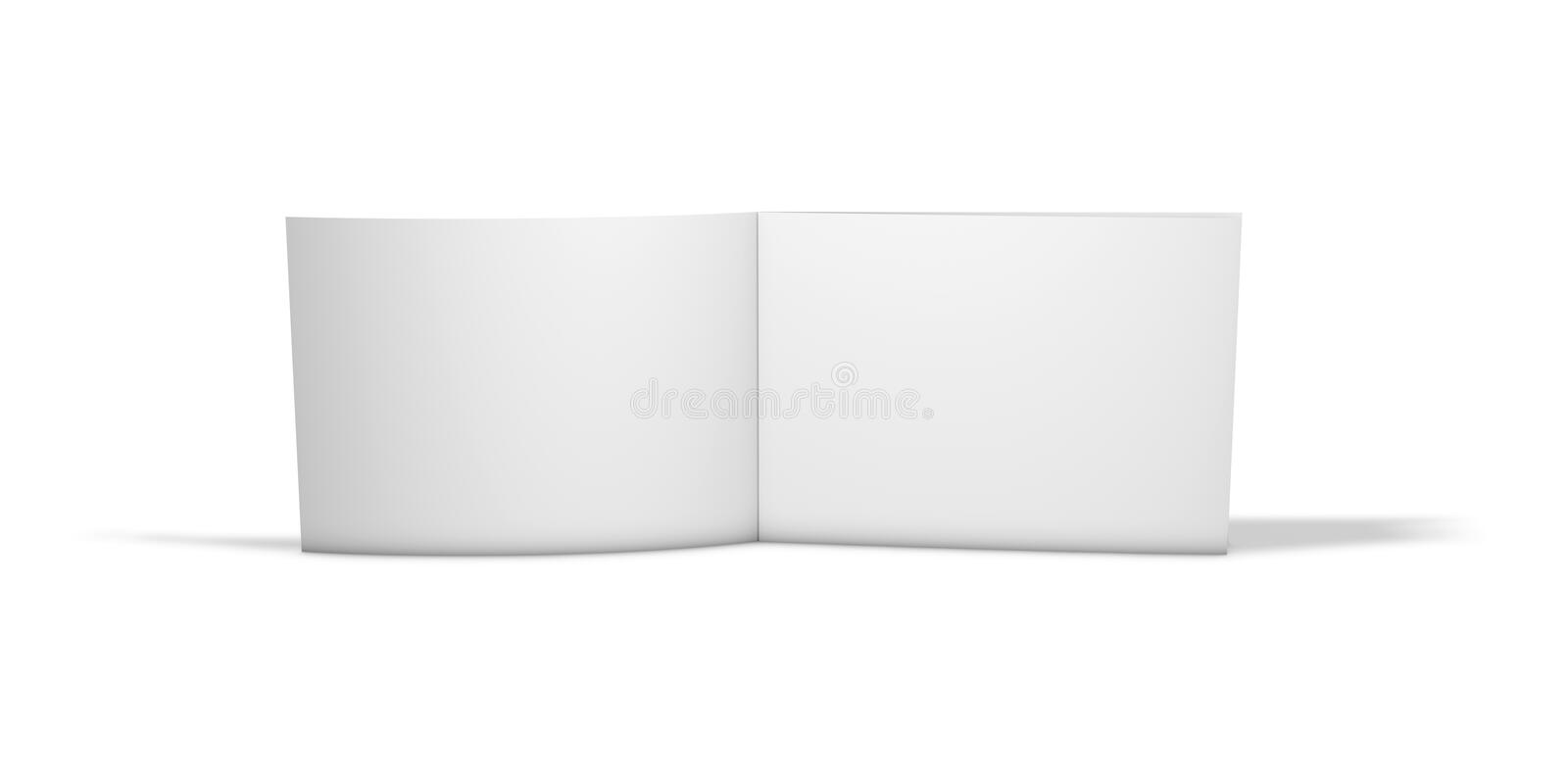 Open horizontal long two pages brochure standing on floor isolated on white background. royalty free illustration
