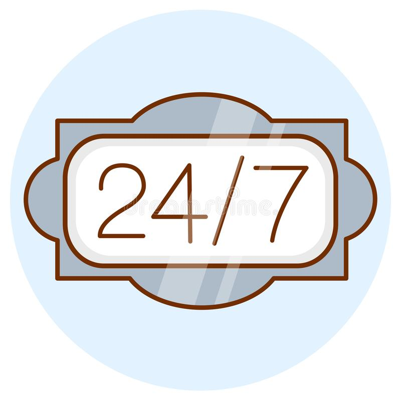 Open 24 hours a day, 7 days a week icon. Online around the clock sign. Colored flat line design stock illustration