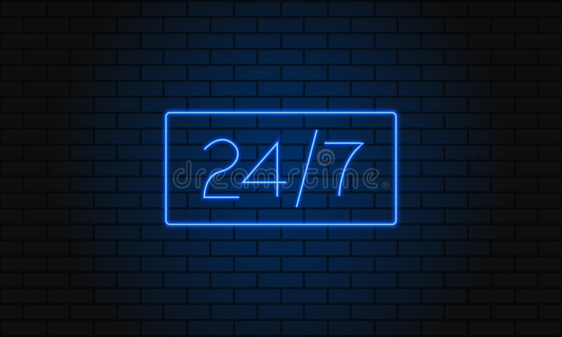 Open 24 7 Hours Neon Light on Brick Wall. Vector Illustration. 24 Hours Night Club Bar Neon Sign. royalty free illustration