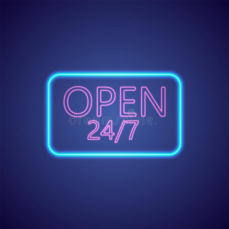 Open 24-7 Hours Neon Light . 24 Hours Night Club - Bar Neon Sign. Vector Illustration. royalty free illustration